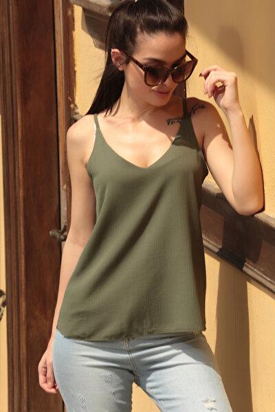 Kadın Haki Askılı Bluz ARM-17Y00005