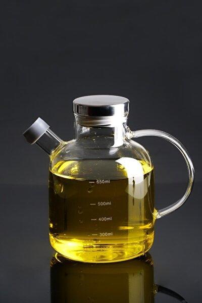 Evie Metal Kapaklı Oval Cam Yağdanlık - 650 ml
