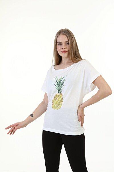 Kadın Beyaz Taş İşlemeli Ananas Desenli T-shirt