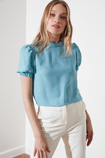 Mavi Kolları Büzgülü Bluz TWOSS21BZ1107