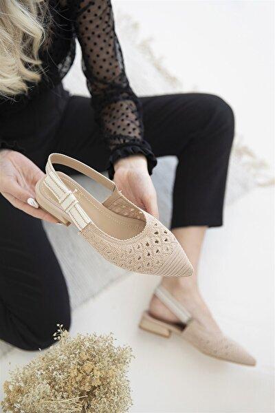 Kadın Ten Ttiko Detay Topuklu Sandalet