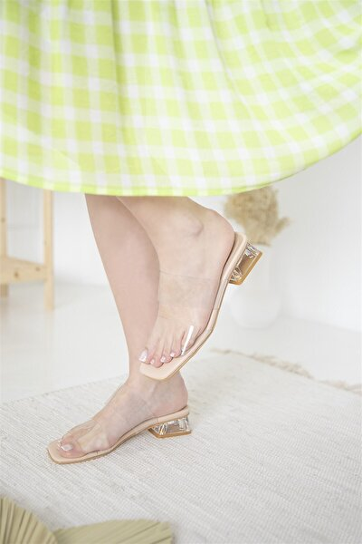 Kadın Ten Şeffaf Topuklu Polking Sandalet