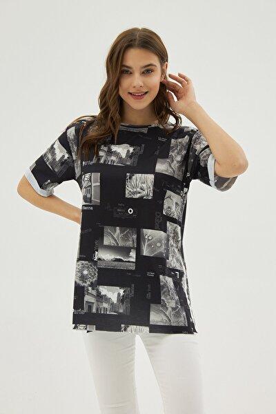 Kadın Siyah Gri Baskılı Yırtmaçlı Oversize Kısa Kollu Tişört P21s201-2121
