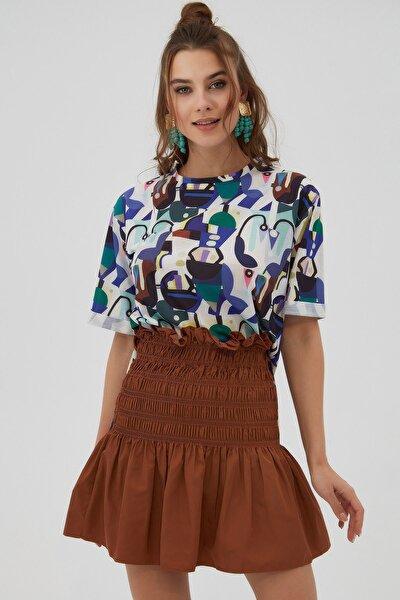 Kadın Mor Yırtmaçlı Oversize Kısa Kollu T-Shirt