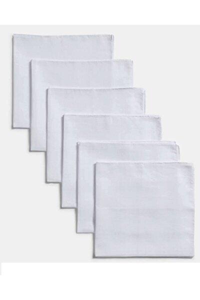 Müslin Ağız Bezi 24x24 Cm . Beyaz Paket Içi 6 'lı