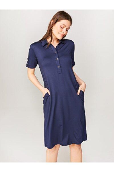 Kadın Lacivert Polo Yaka Elbise 00070
