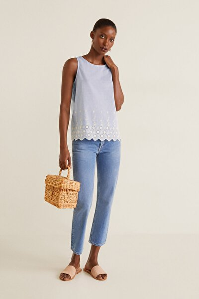 Kadın Mavi Desenli Koton Bluz 43027704