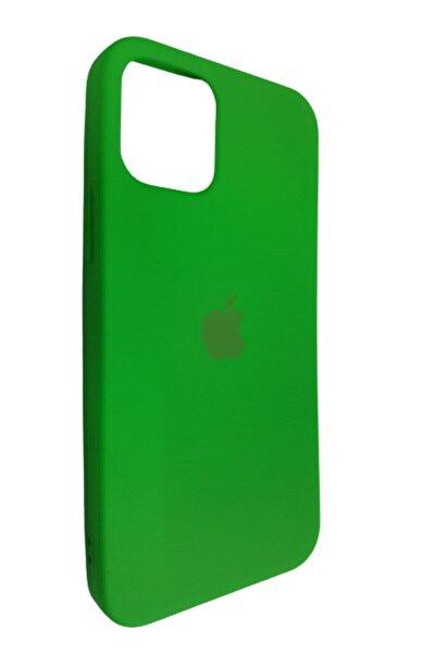 Iphone 12 Pro 6.1 Fıstık Yeşili Lansman Içi Kadife Logolu Silikon Kılıf