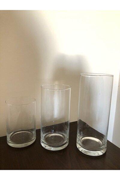 3lü Silindir Cam Set Vazo, Mumluk