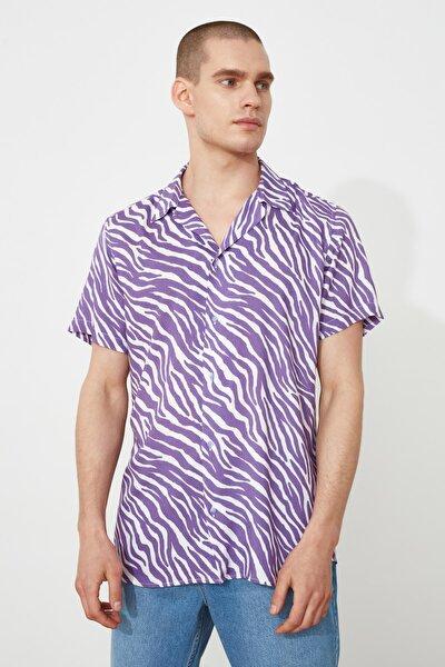 Mor Erkek Regular Fit Apaş Yaka Kısa Kol Tropik Gömlek TMNSS21GO0973