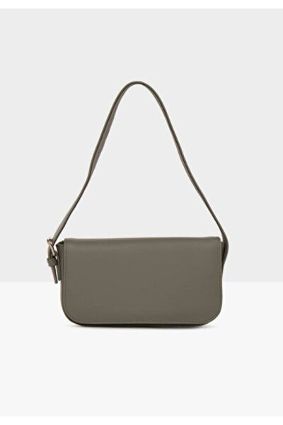 Kadın Gri Kapaklı Baget Çanta