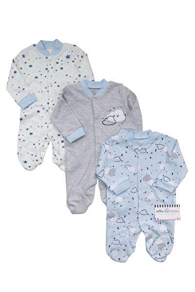 Bulutlu Yıldızlı Erkek Bebek 3 Lü Tulum Takım