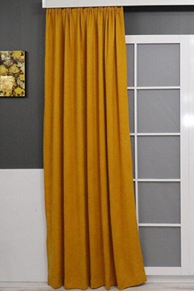 Sarı Petek Dokulu Fon Perde 150x260