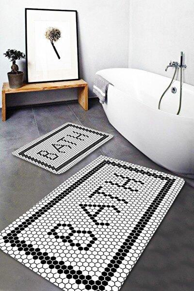 Black Bath Yıkanabilir 2li Banyo Halısı Paspas Klozet Takımı X