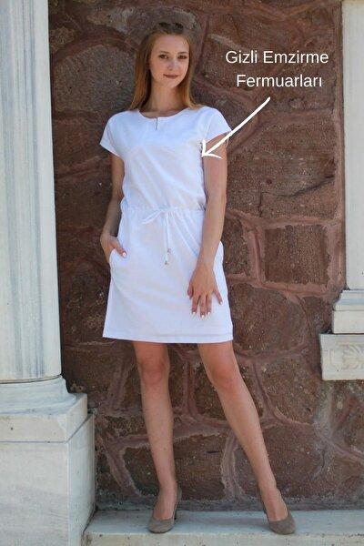 Lykia Keten Yazlık Astarlı Emzirme Elbisesi, Tünel Kemer Ve Yan Cep Detayı Ile, Beyaz