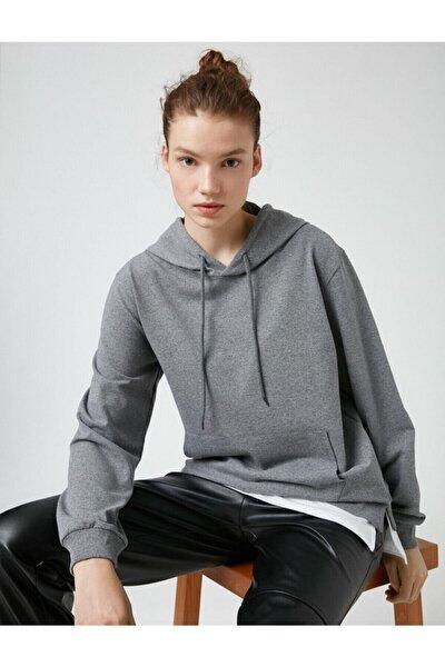 Kadın Gri Kapüşonlu Cepli Sweatshirt