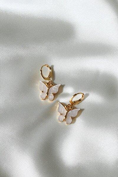 Kadın Gold Renk Beyaz Kelebek Küpe
