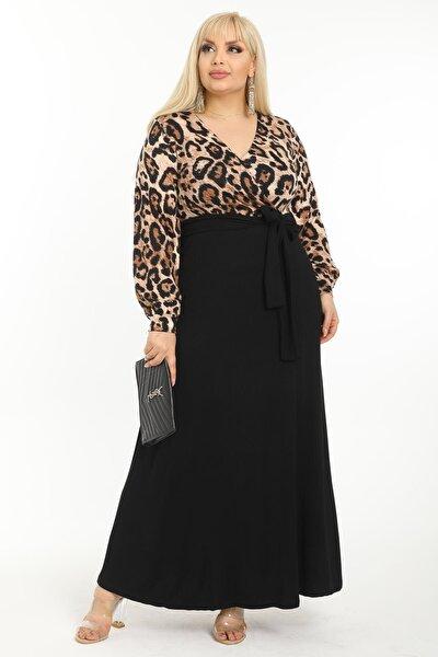 Kadın Kahverengi Leopar Desenli Maksi Uzun Kol Büyük Beden Elbise