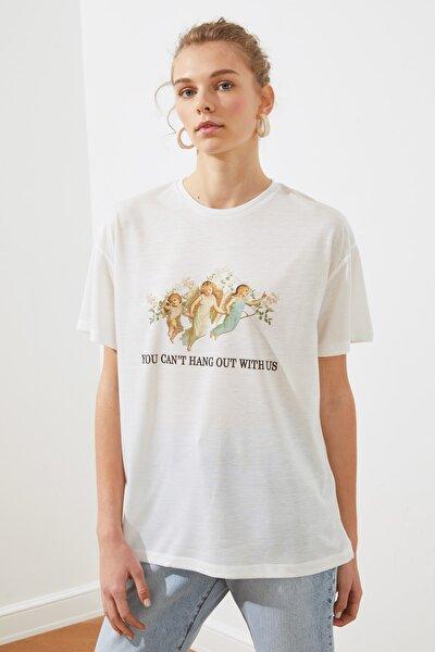 Beyaz Baskılı Boyfriend Örme T-shirt TWOSS19GS0082