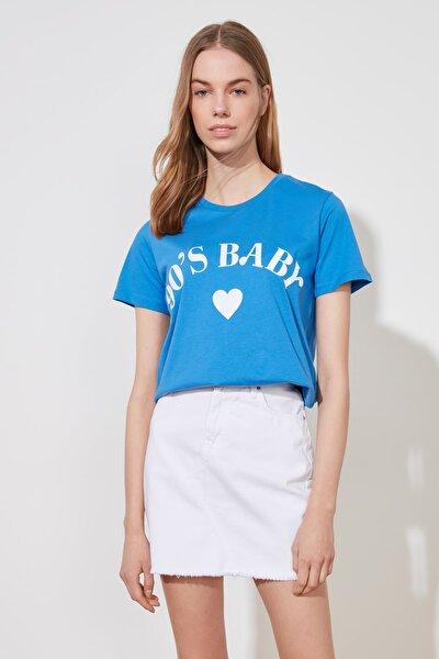 Saks Baskılı Basic Örme T-Shirt TWOSS19VG0155