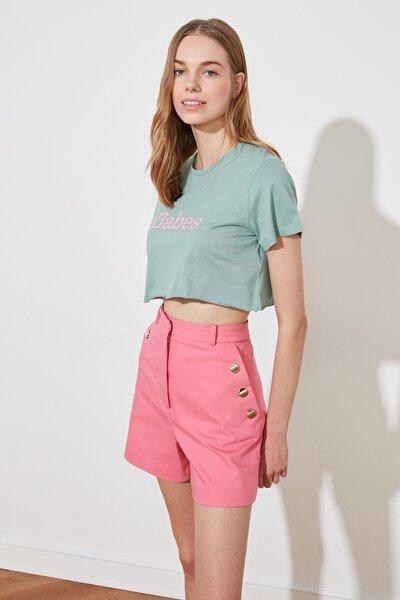 Mint Baskılı Örme Crop T-Shirt TWOSS19VG0152