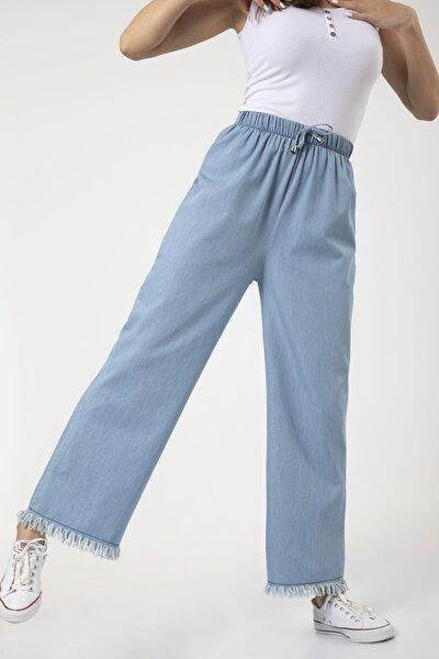 Kadın Mavi Bel Lastikli Bol Paça Rahat Kalıp Jean Kot Pantolon