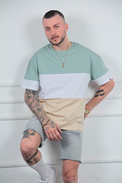 Rahat Kalıp 3 Renk Yeşil Parçalı Tarz Erkek Tişört Tshirt