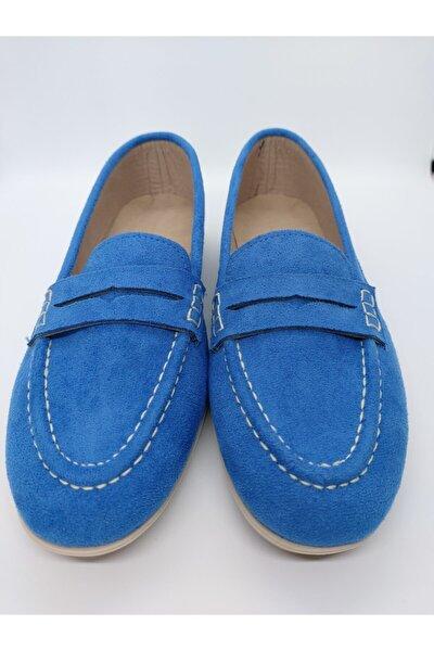 Kadın Mavi Süet Loafer