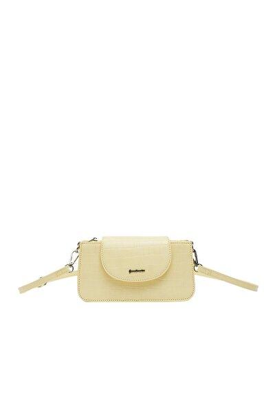 Kadın Sarı Timsah Derisi Görünümlü Mini Çapraz Askılı Çanta 00534001