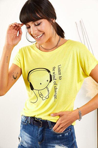 Kadın Sarı Kulaklık Salaş Tişört TSH-19000351