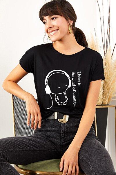 Kadın Siyah Kulaklık Salaş Tişört TSH-19000351