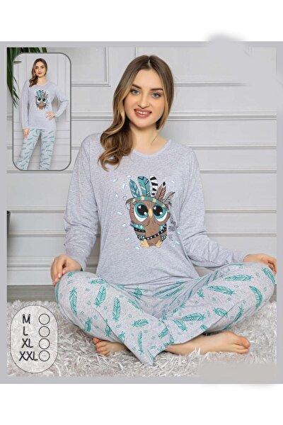 Kadın Gri Pijama Takım Hw Gri Baykuş Desen