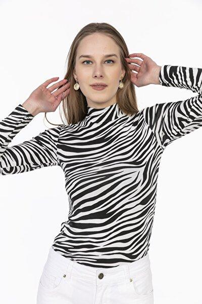 Kadın Siyah Zebra Desenli Body