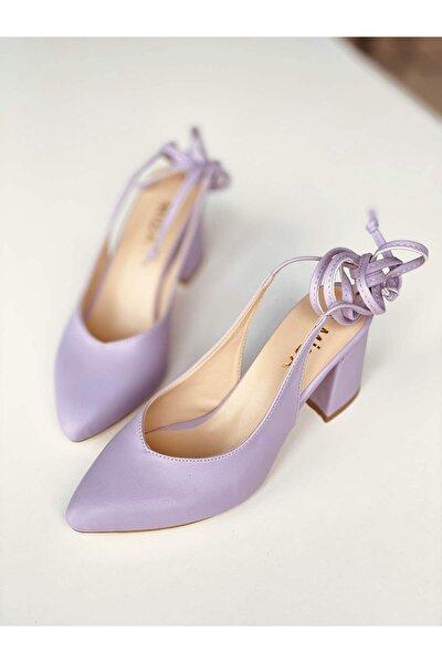 Kadın Lila Deri Bağcıklı Topuklu Ayakkabı