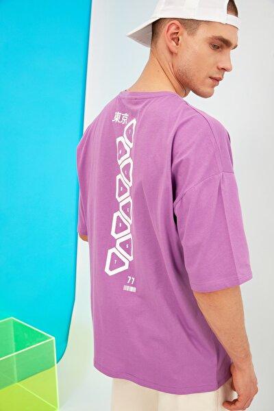 Mor Erkek Kısa Kollu Oversize Sırt Baskılı T-Shirt TMNSS21TS1031