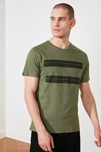 Haki Erkek Basic Slim Fit Baskılı Kısa Kollu T-Shirt TMNSS20TS0092