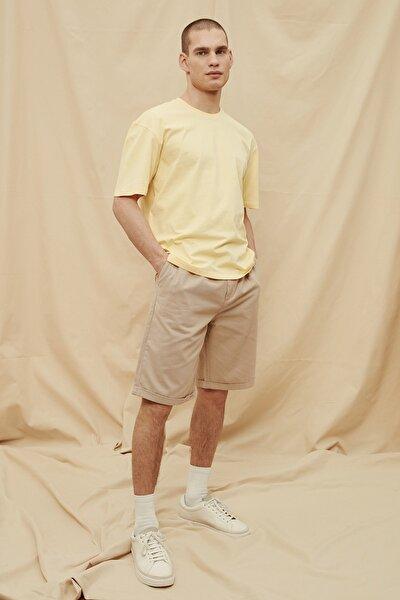 Sarı Erkek %100 Organik Pamuk Oversize Fit T-Shirt TMNSS21TS1471