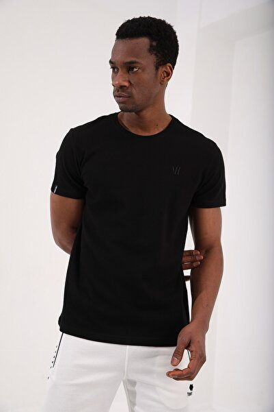 Siyah Erkek Petek Dokulu Çift Ok Logolu Standart Kalıp O Yaka T-shirt - 87921