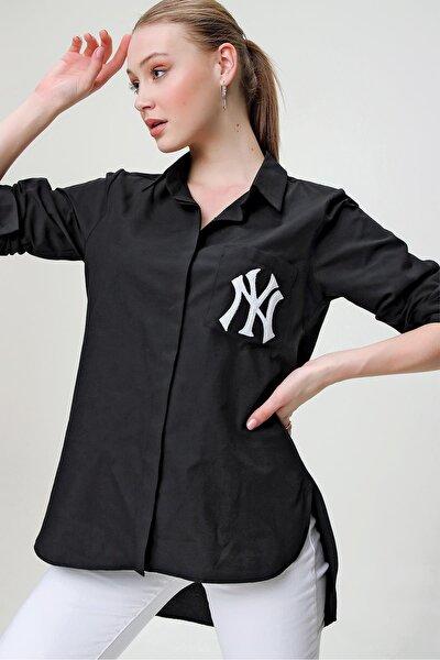 Kadın Siyah Cebi Nakışlı Arkası Uzun Gömlek
