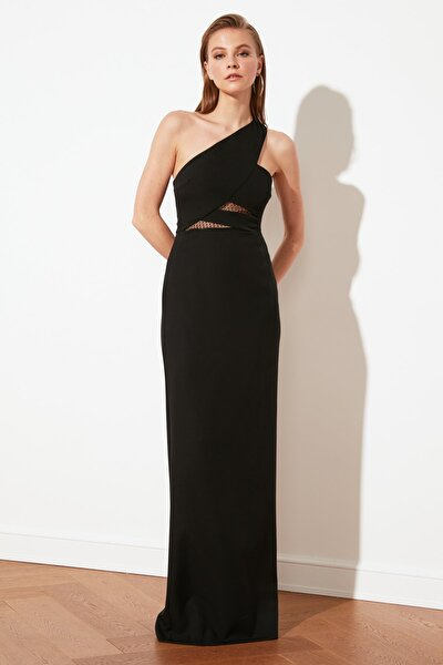Siyah Yaka Detaylı Abiye & Mezuniyet Elbisesi TPRSS21AE0066