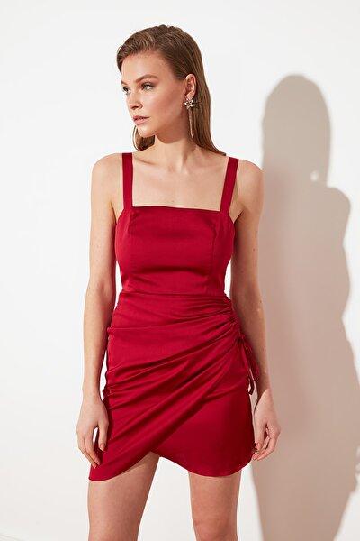 Bordo Büzgülü Saten Elbise TPRSS21EL2287