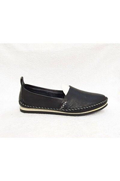 Hakiki Deri Siyah Kadın Çarık Babet Ayakkabı