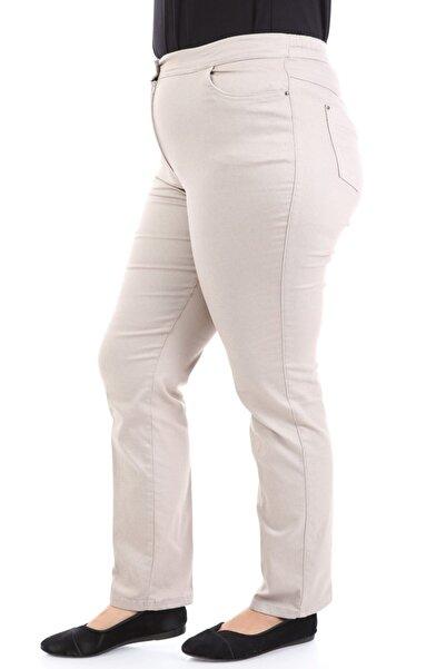 Büyük Beden Beli Lastik Detaylı Bej Kanvas Pantolon