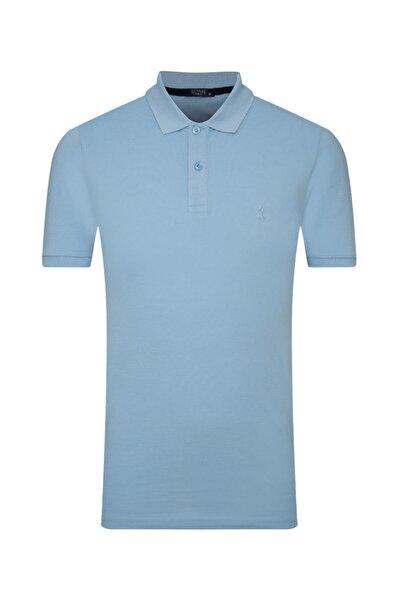 Erkek Buz Mavisi Slim Fit Polo Yaka T-shirt