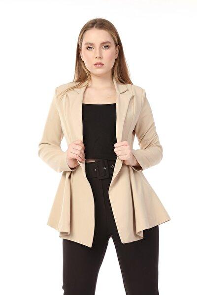 Kadın Yandan Katlamalı Uzun Kol Kruvaze Yaka Omuzları Vatkalı Ceket