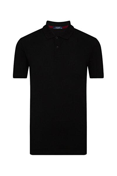 Erkek Siyah Bol Kesim Polo Yaka Tişört