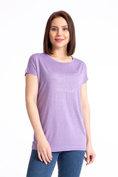 Kadın Courage Sim Baskılı Salaş Lila T-shirt 19318