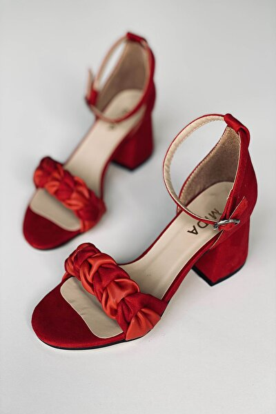 Kadın Kırmızı Örgülü Topuklu Ayakkabı