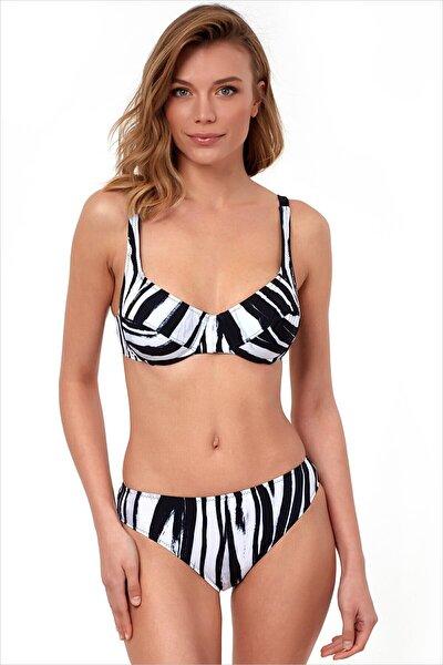 Kadın Siyah-Beyaz Toparlayıcı Bikini Takımı 40628