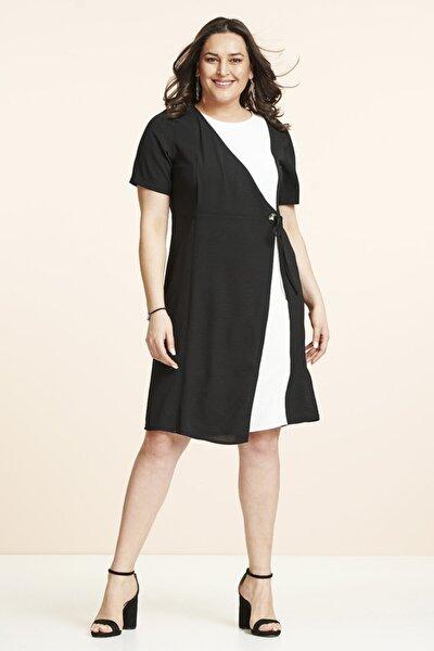 Siyah Beyaz Kombin Büyük Beden Elbise